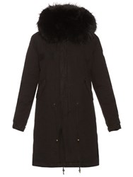 Mr And Mrs Italy Fur Lined Canvas Parka Black
