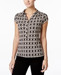 Charter Club Geo Print Polo Top Only At Macy's Deep Balck Combo