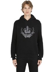 Dolce And Gabbana Hooded Crown Embroidered Sweatshirt
