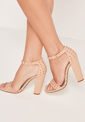 Missguided Studded Barely There Block Heeled Sandals Nude