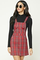 Forever 21 Plaid Overall Dress Burgundy Pink
