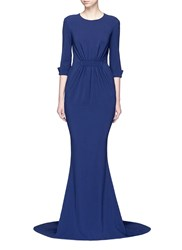 Stella Mccartney Ruched Waist 3 4 Sleeve Gown Blue