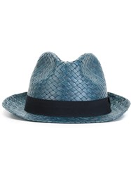 Hackett Straw Trilby Hat Blue