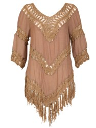 Izabel London Crochet Fringed Hem Top Brown