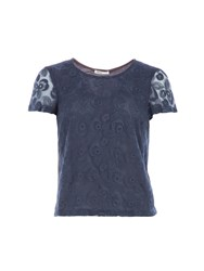 Lavand Lace Short Sleeved Top Blue