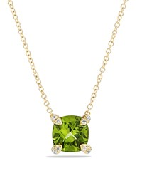 David Yurman Chatelaine Pendant Necklace With Peridot And Diamonds In 18K Gold Green Gold