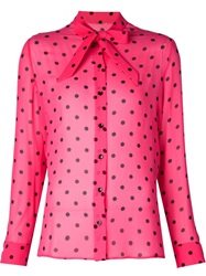 Saint Laurent Polka Dot Print Shirt Pink And Purple