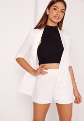 Missguided High Waisted Crepe Shorts White White