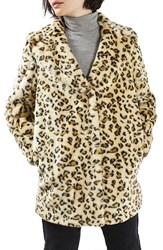 Topshop Women's Leopard Faux Fur Coat