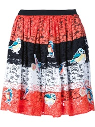 Msgm Bird Patch Lace Skirt Yellow And Orange