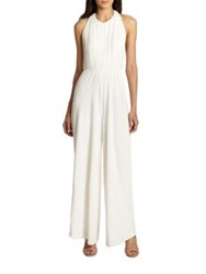 Alice Olivia Gab Gathered Halter Jumpsuit White