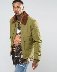 Asos Military Jacket With Borg Collar In Khaki Khaki Green