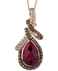 Le Vian Raspberry Rhodolite Garnet 3 5 8 Ct. T.W. And Diamond 5 8 Ct. T.W. Pendant Necklace In 14K Rose Gold Red