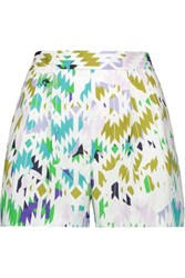 Milly Printed Cotton Blend Shorts White