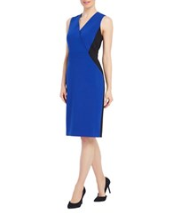 Ellen Tracy Colorblocked Wrapped Sheath Dress Cobalt