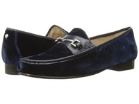 Sam Edelman Talia Inky Navy Silky Velvet Dress Calf Leather Women's Shoes