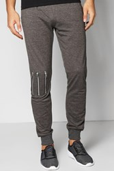Boohoo Skinny Fit Pique Jogger With Knee Zips Charcoal