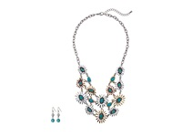 Mandf Western Mixed Metal Flower Bib Neckace Earring Set Silver Gold Copper Jewelry Sets