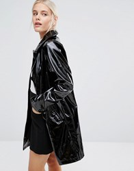 Monki Patent Coat Black