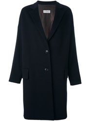 Alberto Biani Notched Lapel Mid Coat Blue