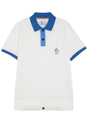 Moncler Gamme Bleu White Contrast Trim Pique Cotton Polo Shirt