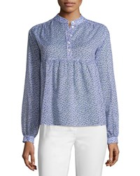 Michael Kors Collection Long Sleeve Floral Print Empire Blouse Wisteria Size 12