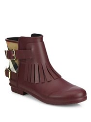 Burberry Fritton Fringe Rubber And House Check Rain Boots Oxblood Red
