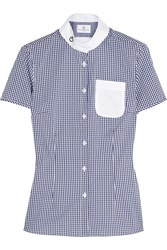 Cavalleria Toscana Gingham Perforated Stretch Cotton Blend Top Blue