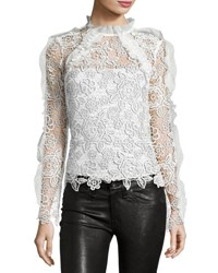Self Portrait Cutout Floral Guipure Lace Top White