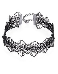 Design Lab Lord And Taylor Embroidered Floral Lace Choker Necklace Black