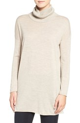 Eileen Fisher Women's Featherweight Merino Wool Turtleneck Sweater Maple Oat