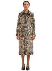 Stella Mccartney Long Faux Leopard Print Fur Coat Brown