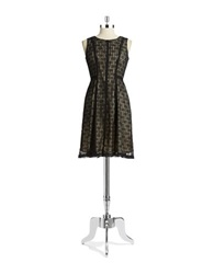 Anne Klein Petite Lace Fit And Flare Dress Black