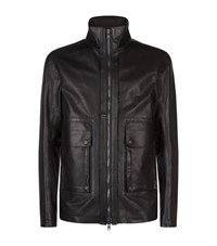 Helmut Lang Funnel Neck Leather Jacket Male Black
