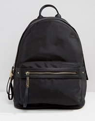 Pieces Nylon Minimal Structured Backpack In Black Black