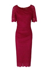 Jolie Moi Lace Ruched Shift Dress Wine