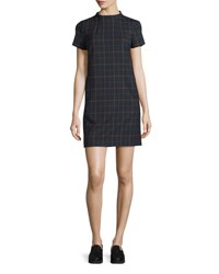 Theory Jasneah Tile Check Short Sleeve Dress Dark Navy Multi