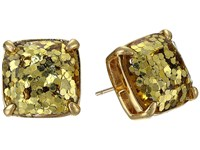 Kate Spade Small Square Studs Gold Glitter Earring