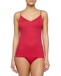 Hanro Seamless V Neck Cotton Camisole Cranberry Red