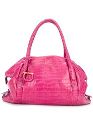 Ferragamo Vintage Crocodile Effect Tote Pink Purple