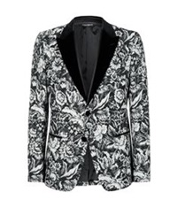 Dolce And Gabbana Floral Brocade Blazer Black
