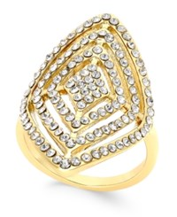 Inc International Concepts Gold Tone Geometric Crystal Statement Ring Only At Macy's