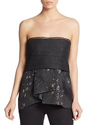 Donna Karan Mixed Media Bustier Peplum Top Charcoal