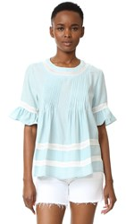 English Factory Lace Boho Blouse Light Blue