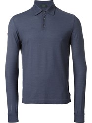Zanone Long Sleeve Polo Shirt Blue