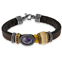 Platadepalo Brown Leather Bracelet With Purple Crystal Silver And Bronze Pink Purple
