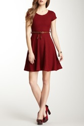 Gracia Short Sleeve Belted Sweater Dress Red