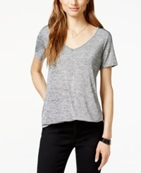 One Clothing Juniors' Shine Marled V Neck T Shirt