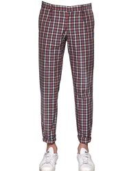 Royal Hem 17Cm Plaid Cotton Pants Red Navy
