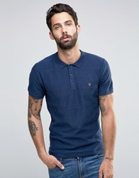 Farah Knitted Polo Shirt With Textured Stripe In Slim Fit Blue Blue